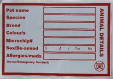 Crate evacuation sticker